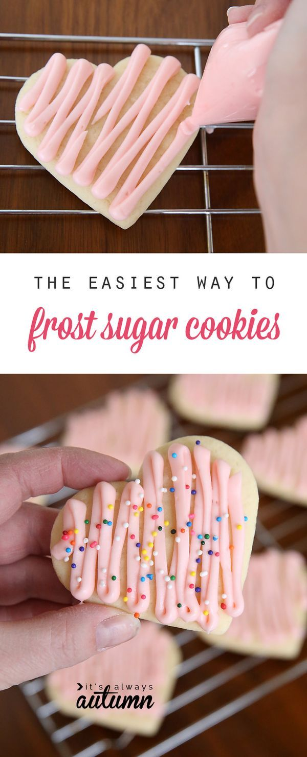 Great tip! You can frost a whole batch of sugar cookies in no time with this simple method (and all you need is a plastic sandwich bag!). Click through for tips and the best sugar cookie recipe ever!