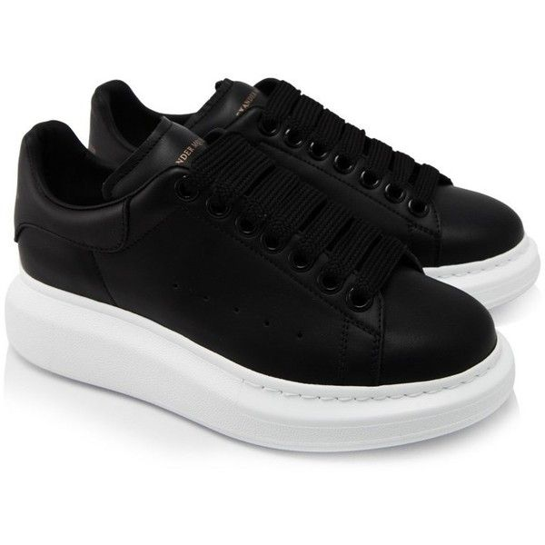 Alexander Mcqueen Oversized Sneakers ($490) ❤ liked on Polyvore featuring shoes, sneakers, black, leather platform sneakers, black trainers, alexander mcqueen sneakers, black rubber sole shoes and black leather sneakers