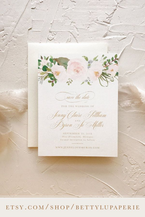 Beautiful Soft Pink Pastel Roses Personalized Wedding Save The Date Cards