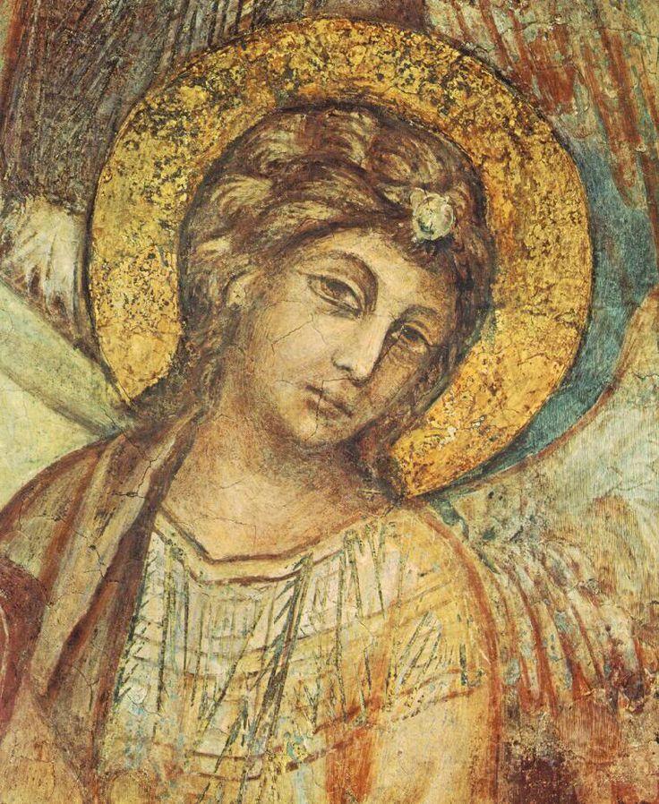 Мадонна на троне в окружении ангелов и св. Франциском. Деталь. Чимабуэ. 1278 -80 гг. Нижняя церковь в Ассизи.