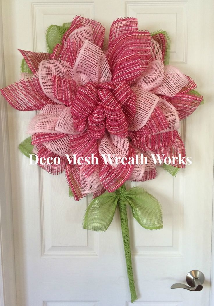 Paper Mesh Flower Wreath, Deco Mesh Flower Wreath, Flower Wreath, Mother's Day Wreath, Summer Wreath, Spring Wreath by DecoMeshWreathWorks on Etsy
