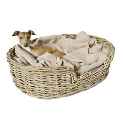 Grey Wash Oval Rattan Basket | PetsPyjamas