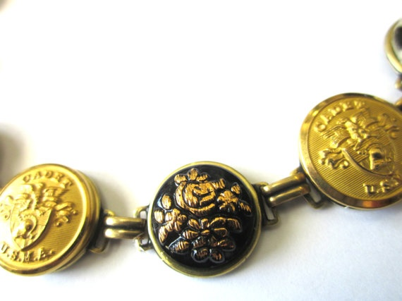 USMA at WEST POINT CADET antique button bracelet, intricate glass buttons: Usma Sister, Button Bracelet, Stencil Buttons, Soldier Cadet, Cadet Antique, Intricate Glass, Antique Button