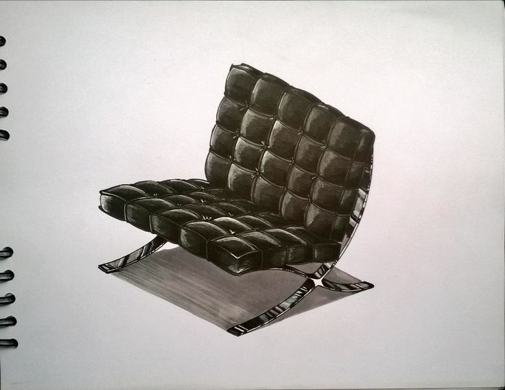 Silla Barcelona / Mies van der Rohe. Furniture Sketch. Marcadores, markers, illustration, ilustración