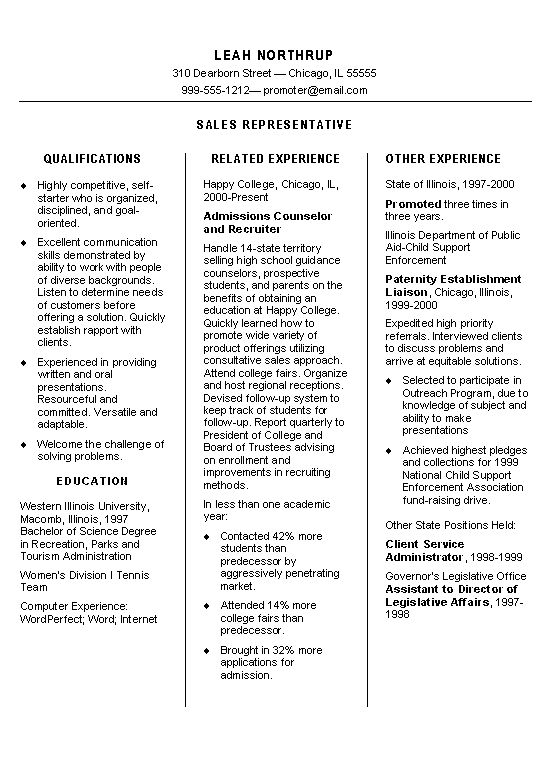 Field Representative Resume New Consultant One Page For Each, 80 Of - field representative resume