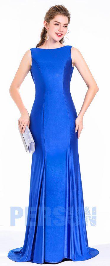 Elégante robe de soirée longue bleu roi effet sirène pour gala soirée cérémonie réveillon noel
