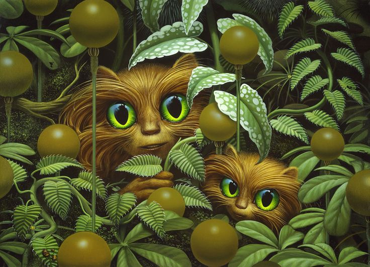 Michael Whelan:PEEKABOO FUZZIES (1983) The Fuzzy Sapiens created by H. Beam Piper first appeared in the early 1960s and they were a welcome contrast to the menacing aliens that seemed to dominate science fiction of the day. Not only were they irresistibly cute, the stories seemed to foretell issues more of todays world - slaughtering peaceful and playful animals for their fur and discussions on what characterizes intelligence.