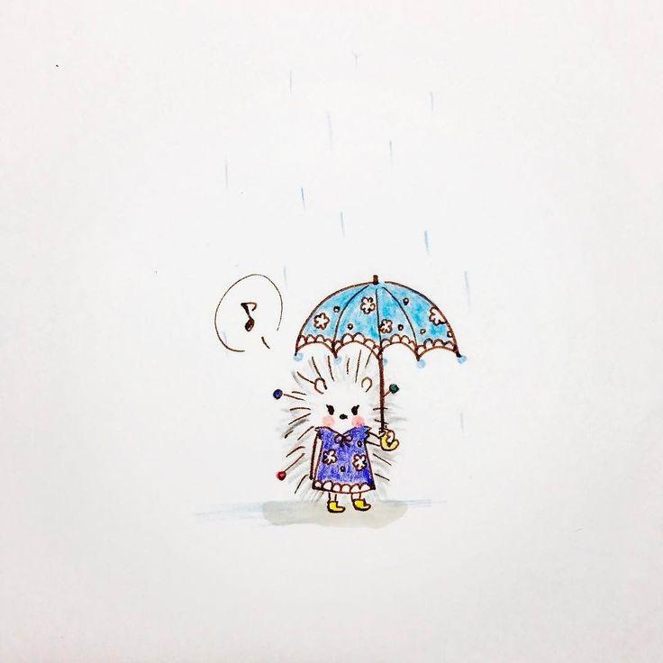 ハリーは雨の日もおしゃれ harry also dresses up on rainy days.  #ハリネズミ #キャラクター #イラスト #キャラ #動物 #ハリー #テイラー #まち針 #雨 #おしゃれ #傘 #レインブーツ  #hedgehog #tiny #character #lovely #animals #illustration  #harry #tailor #dresspin #rainy #umbrella #stylish #dressup #rainboots