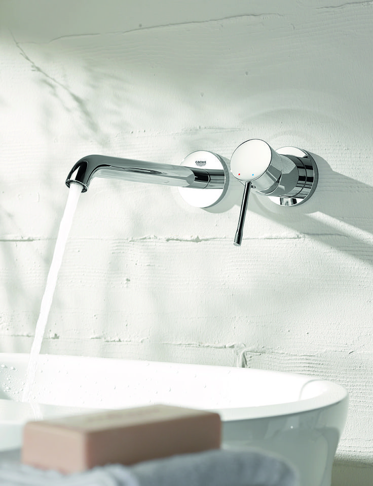 A wall-mounted basin mixer is ideal for a modern, minimal scheme. GROHE Essence bathrooms let you chose your ideal combination of contemporary ceramics, fitting and accessories. #wallmounted #basin #faucet #tap http://www.grohe.co.uk/en_gb/bathroom-collection/mixer-taps-essence.html
