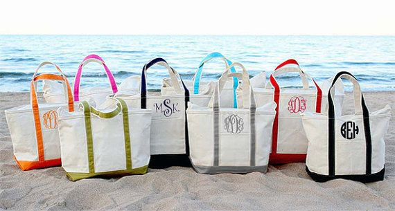 Monogram Canvas Tote Bag - Large - Great Gift For Bridesmaids - Beach Bag - Discount On Four Or More Tote Bags