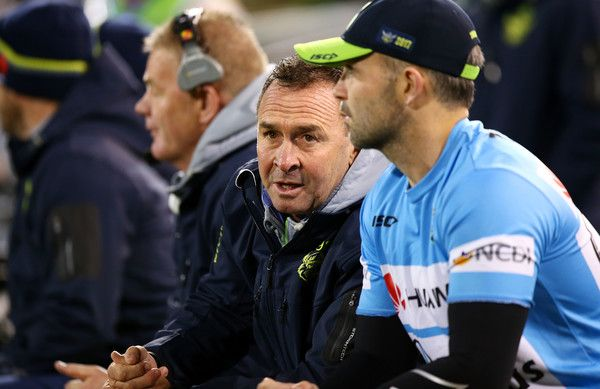 Raiders coach Ricky Stuart watches on from during the round 16 NRL match between the Canberra Raiders and the Brisbane Broncos at GIO Stadium on June 24, 2017 in Canberra, Australia.