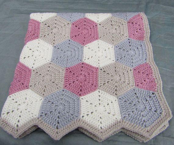 Crochet hexagon blanket baby blanket crochet by Bbabscrochet