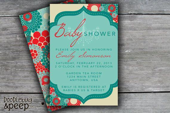 Chandelier Red & Teal Baby Shower Invitation by doodlebugandpeep, $15.00