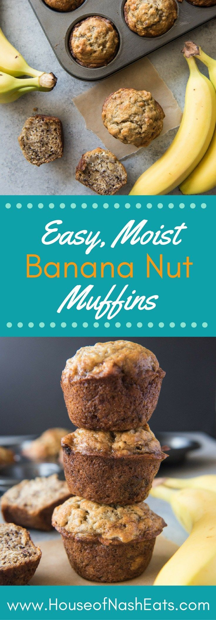 These soft, moist, easy banana nut muffins are loaded with banana flavor and studded with walnuts for a little crunch.  No need for a mixer - just use one bowl and stir everything together with a wooden spoon!