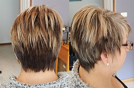 Pearl Foils and Caramel Foils with Brown Foils pixie cropped cut, hairserenity