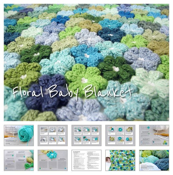 Crocheted flower blanket