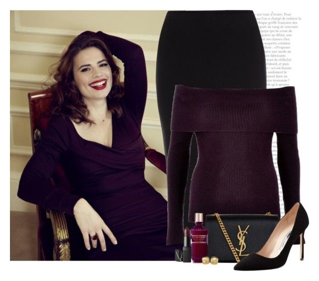 3/50. Hayley Atwell by chezamanda on Polyvore featuring polyvore, fashion, style, River Island, Roland Mouret, Manolo Blahnik, Yves Saint Laurent, Lord & Taylor, NARS Cosmetics, Givenchy, Atwell, clothing, date, celebrity and challenge
