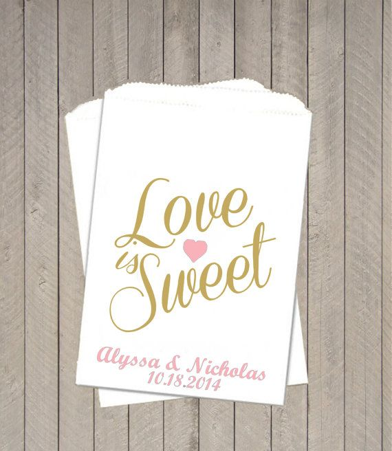 Gold And Pink Love Is Sweet Candy Bags Buffet Takeaway Wedding