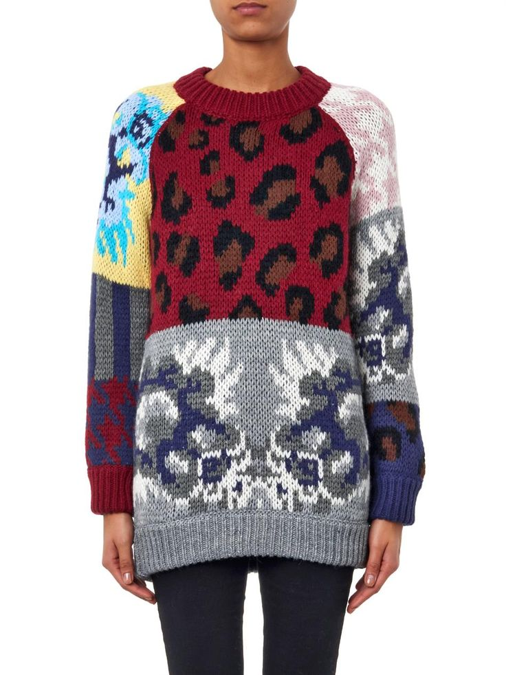 Tak.Ori Leopard and floral intarsia-knit sweater