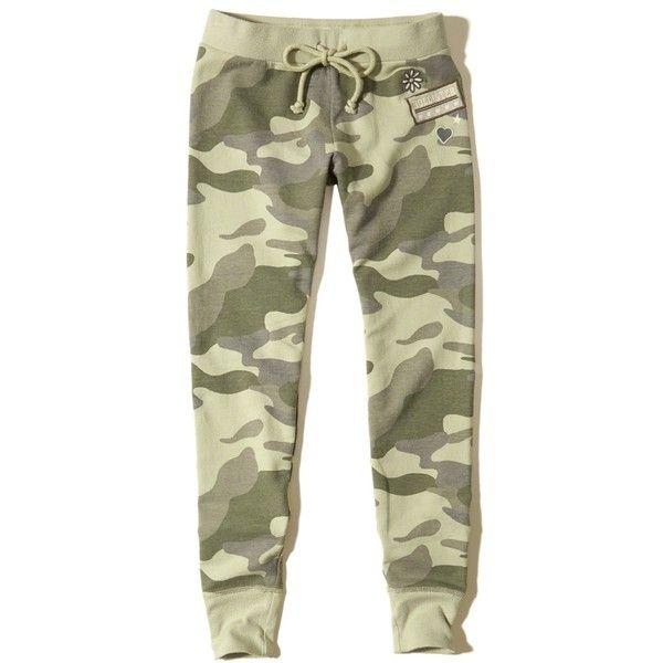 Hollister Patch Fleece Leggings (1.765 RUB) via Polyvore featuring pants, leggings, camo, drawstring waist pants, camo trousers, legging pants, all over print leggings и camoflage pants