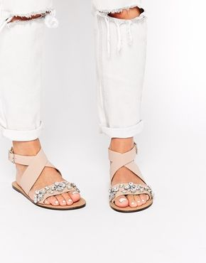 ASOS FREED Cross Strap Embellished Leather Sandals