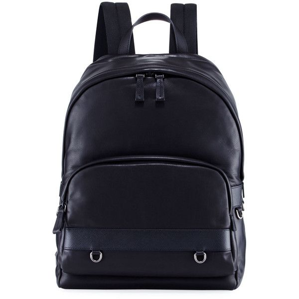Prada Classic Calf Leather Backpack (2,445 CAD) ❤ liked on Polyvore featuring men's fashion, men's bags, men's backpacks, black and prada mens backpack