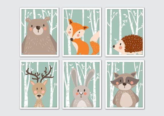 Woodland Animals Nursery Art, Woodland Nursery Prints, Racoon, Rabbit, Fox, Bear, Moose Nursery Wall Art, Woodland Room Decor