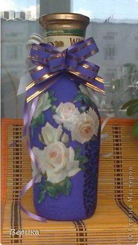 Декор предметов 8 марта День рождения Декупаж Кракелюр Кракелюр Бутылки стеклянные Кружево Скорлупа яичная фото 1