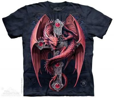 Gothic Guardian T-Shirt - Isn't he magnificent! Blood red and battle ready-- this dragon is ready for a showdown. T-shirts are 100% cotton, and are printed with environmentally safe, water-based inks. #T-Shirts #HereBeDragons #GryphonsMoon