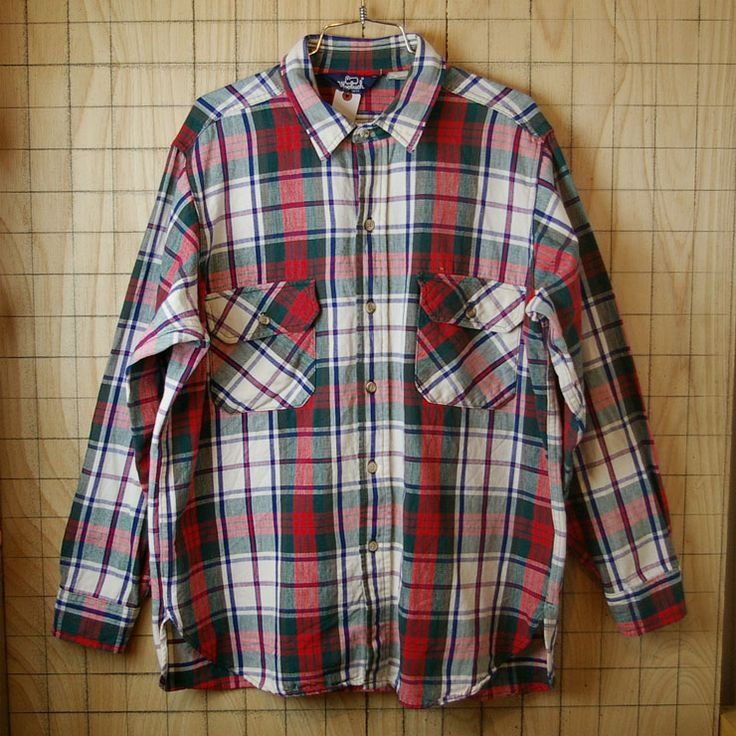【Woolrich】USA製80sビンテージ古着ホワイト×レッド×グリーンチェック柄コットンシャツ|メンズXLサイズ