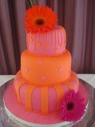 pink & orange wedding cake