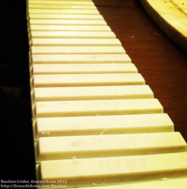 White Chocolate Kit Kat Bars make the white keys in Bastion's Chocolate Keyboard.