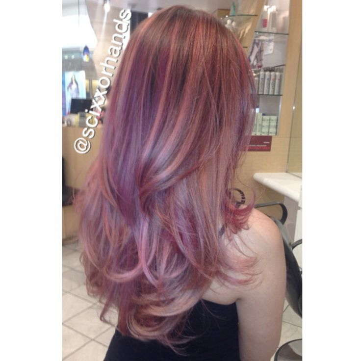 rosegold balayage ombre longhair goldwell haircolor