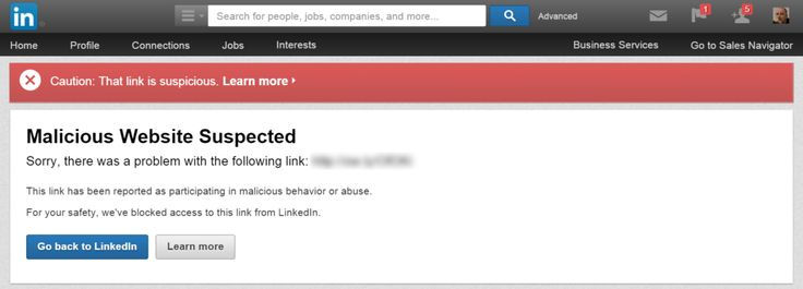 LinkedIn Malicious Link warning (6/23/15). Caused by using an owly link in a discussion group in the discussion heading.