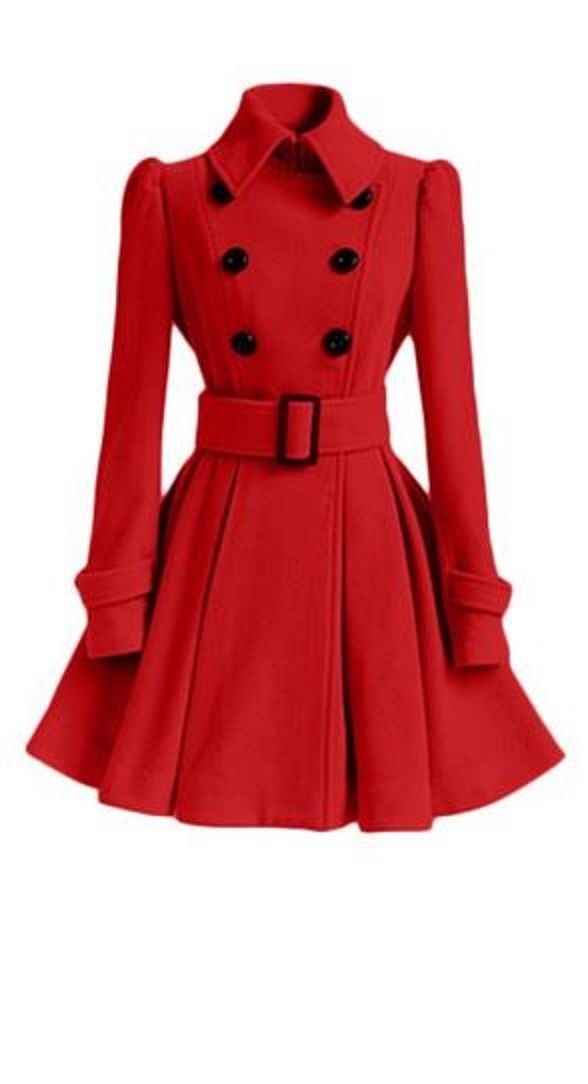 Super Cute! Chic Red and Black Button Women's Belt Long Sleeve Winter Coat Dress #Red #Black #Buttons #Womens #Coat #Dress #Winter #Fashion