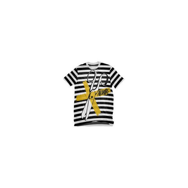 Paramore Black White Scissors Shirt (23 AUD) ❤ liked on Polyvore featuring tops, paramore, shirts, black and white striped shirt, striped top, black and white stripe top, white and black shirt and black white striped shirt