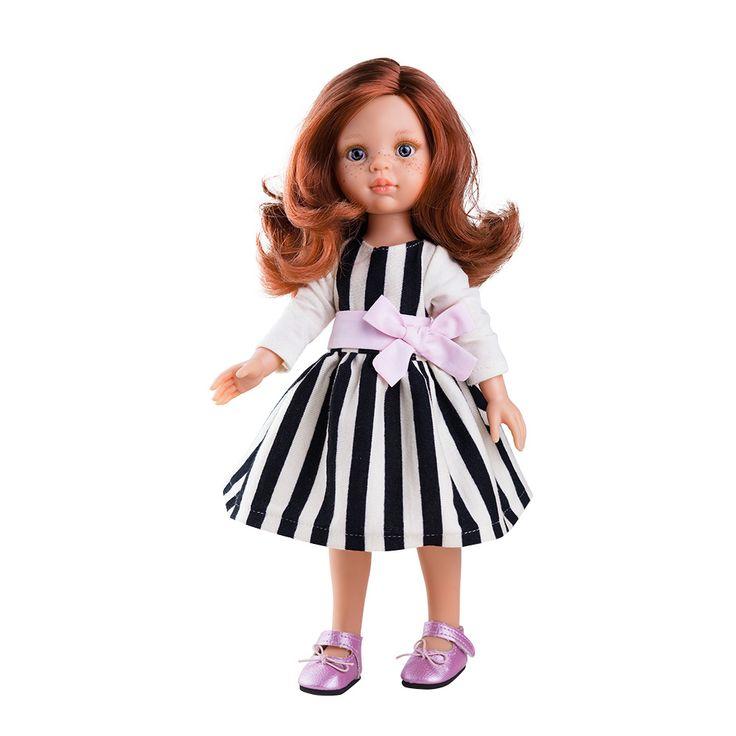 Pôvabná štíhla celoplastová bábika vyrobená v Španielsku. Materiál: vinyl bez ftalátov, s jemnou vôňou vanilky.Veľkosť: 32cm. V krásnej darčekovej krabici.Vyrobená v Európe