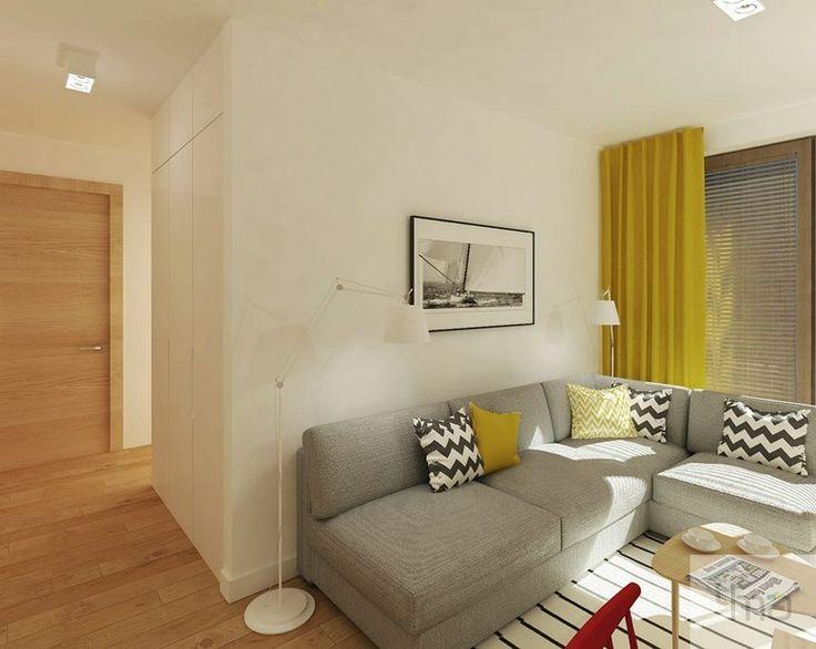 Salon | szara kanapa | żółty  #wnętrze #mieszkanie  #interiors  #architektura #homedecor #interiordesign