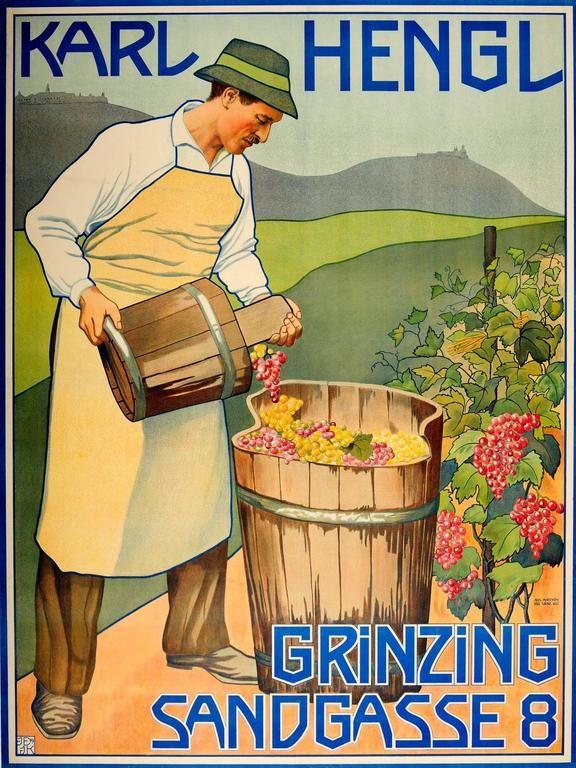 Original Early Vintage Advertising Poster For The Austrian Wine Maker Karl Hengl 1