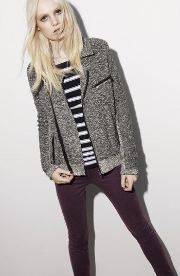 My favorite piece from their Anniversay Sale Catalog... looks cool & warm. Perfect fo SF. rag & bone 'Hart' Biker Jacket | Nordstrom