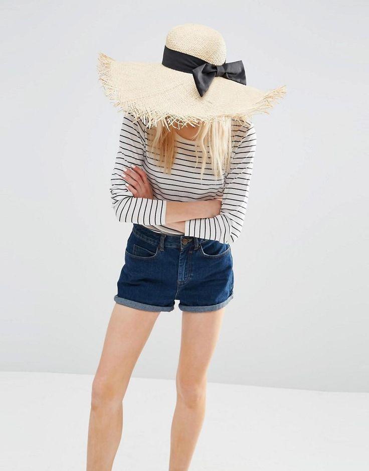 ASOS | Большая соломенная шляпа с необработанными краями и бантом ASOS на ASOS