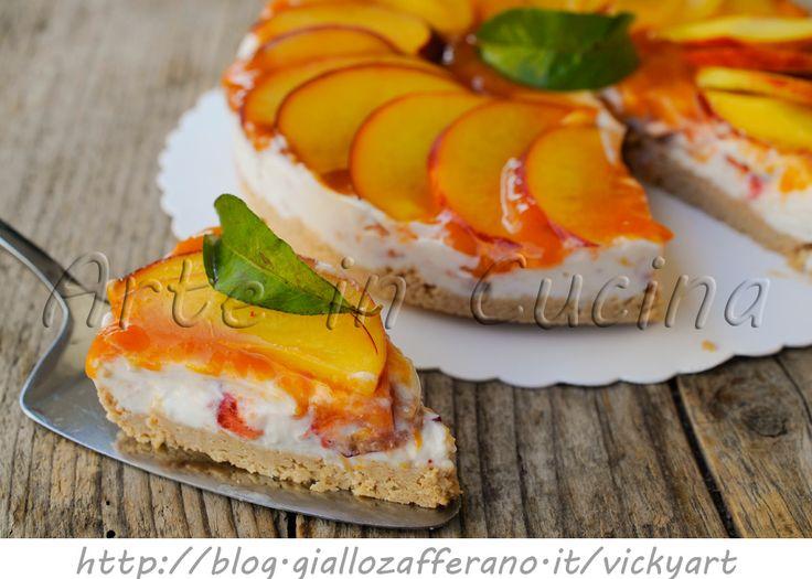 Dolce freddo alle pesche ricotta e marmellata, senza cottura, crostata fredda, ricetta facile e veloce, dolce da merenda o colazione, ricetta con le pesche noci,
