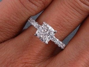 Details about 1.28 CARATS CT TW CUSHION CUT DIAMOND ENGAGEMENT RING D SI2