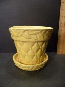 McCoy Pottery Yellow Quilt & Leaf Planter....Cottage Coterie @ normascottage@gmail.com