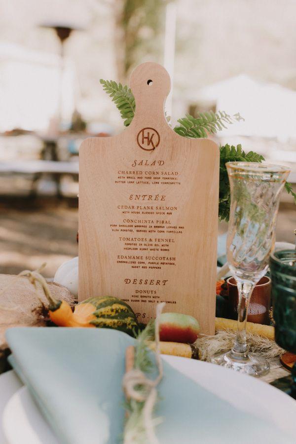 Menu on a cutting board / Sweet Emilia Jane » Los Angeles Wedding Coordinator, Florist and Designer