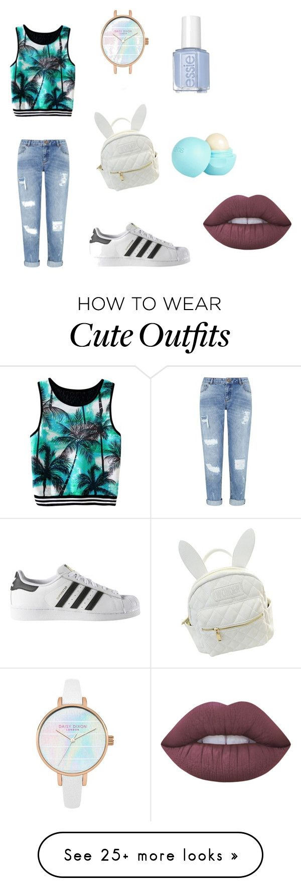 """stoere outfit"" by tara-quaedvlieg on Polyvore featuring Miss Selfridge, adidas, cutekawaii, River Island and Lime Crime"