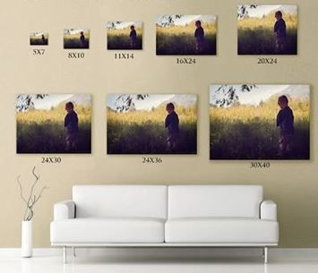 This useful illustration is from Canadian baby & children photographer, Brynnstone Photography. It shows you how big a single picture above your sofa needs to be. You can see another version of this illustration at http://www.houzz.com/photos/4610193/Print-Size-Guide-Brynnstone-Photography.