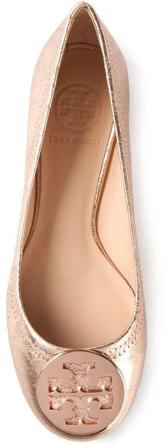 Rose Gold Revas - Tory Burch 'Reva' ballerinas