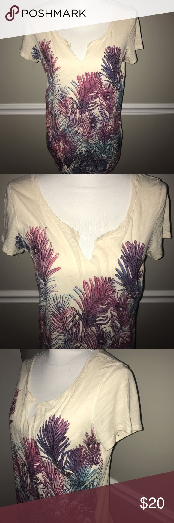 Lucky Brand Large Colorful Peacock Shirt Top Great condition! Vibrant colors! Lucky Brand Tops Blouses
