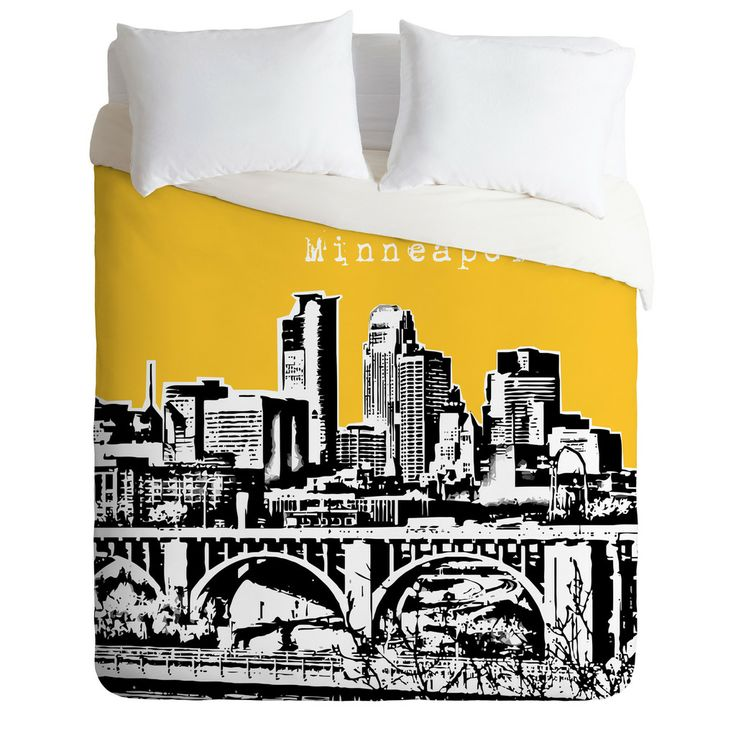 Bird Ave Minneapolis Yellow Duvet Cover | DENY Designs Home Accessories   -   @Patti Syverson